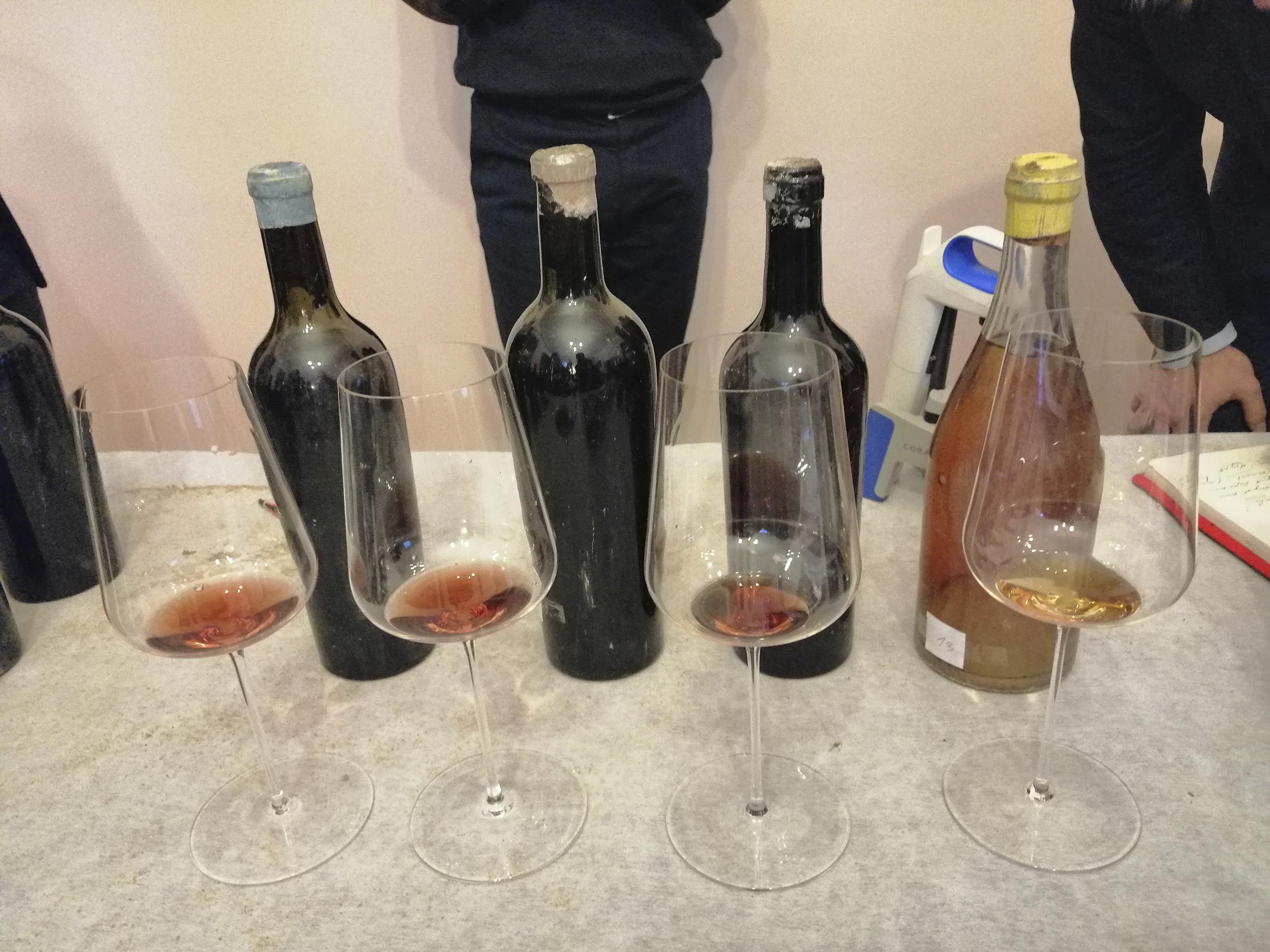 Fotografia. Trzy butelki do wina o ciemnym zabarwieniu i jedna z jasnego szkła pokryte kurzem, przed nimi ustawione kieliszki do wina z odrobiną napoju w środku.
