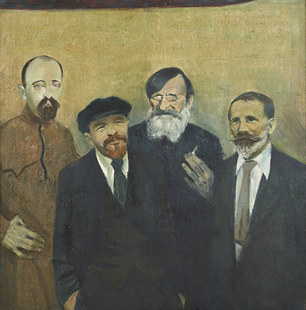 Od lewej, w ujęciu od bioder, en face albo prawie na wprost: Feliks Dzierżyński (w długiej brązowozielonej kurtce), Włodzimierz Lenin (w ciemnej czapce, garniturze, krawacie i jasnej koszuli), Feliks Kon (w okularach, ciemnej kurtce, z papierosem), Julian Marchlewski (w ciemnym garniturze, jasnej koszuli i krawacie). Wszyscy z pełnym zarostem.  Tło żółtozielone.