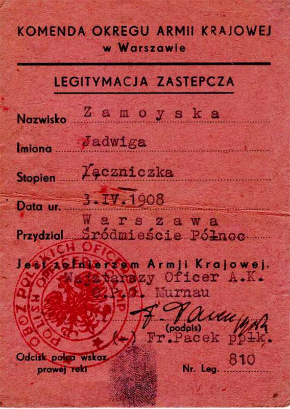Legitymacja zastępcza żołnierza AK wystawiona dla Jadwigi Zamoyskiej, fot. z archiwum rodziny Zamoyskich