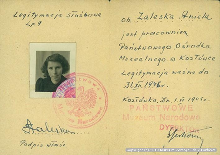Legitymacja służbowa Anieli Zaleskiej