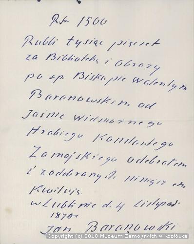 korespondencja Jana Baranowskiego
